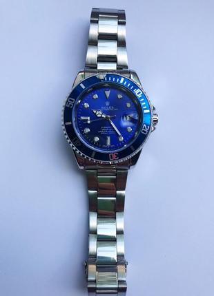 Часы мужские стального цвета с синим циферблатом