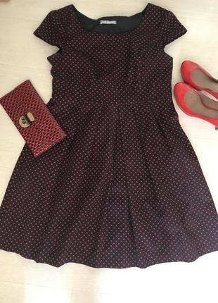 Платье миди в горошек классика клатч в подарок