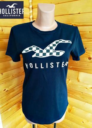 138. брендовая хлопковая футболка hollister в темно-синем цвете.