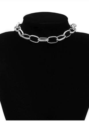 Цепь крупная плоская цепочка колье ожерелье под серебро новая1 фото