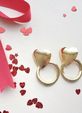 Серьги - гвоздики кольца сердечки