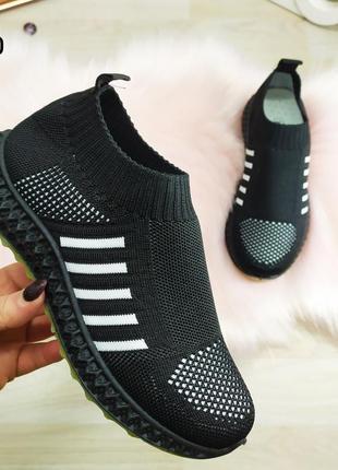 Женские черные кроссовки мокасины, тканевые на стильной структурной подошве