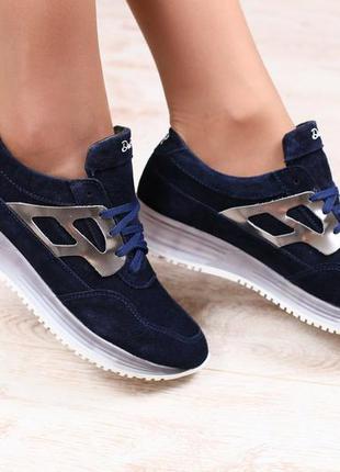 Криперы, замшевые, синие, на шнурках, с серебристыми кожаными вставками