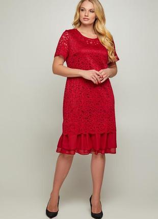 Нарядное красное платье гипюр шифон большие размеры