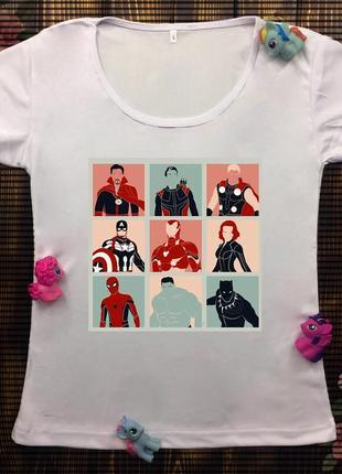 Женские футболки с принтом марвел