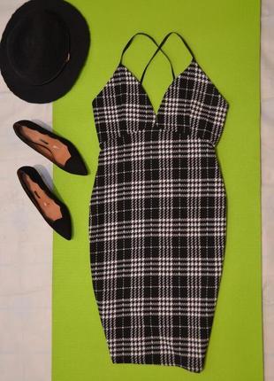 Лише лише до 1.09! облегающее платье миди на бретельках, платье в бельевом стиле в клетку, л