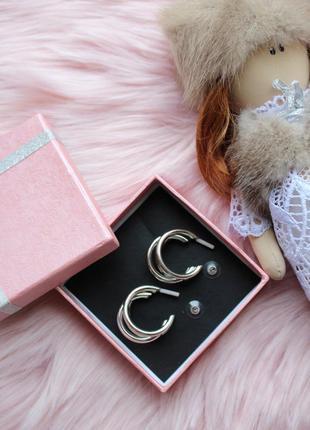 Серьги серёжки кольца тройные объёмные кольца серебристые новые2 фото