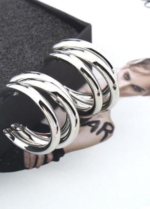 Серьги серёжки кольца тройные объёмные кольца серебристые новые