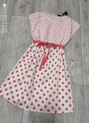 Летнее платье в горох для беременных и кормящих