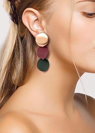 Серьги серёжки комбинированные золото с матовыми деталями бордо зелёный новые