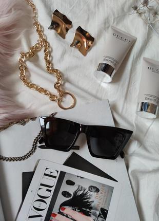 Очки окуляри темные черные солнце солнцезащитные стильные трендовые новые uv 4004 фото