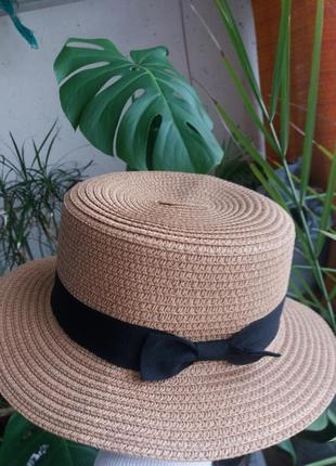 Соломенная шляпа канотье!!! хит лета! шляпка от солнца панамка белая бежевая красная4 фото