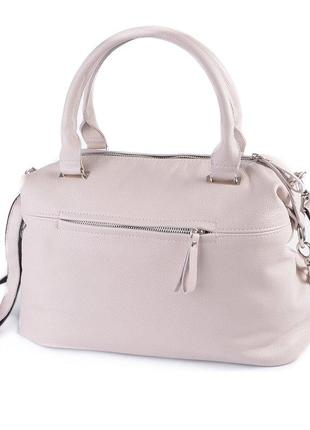 Женская вместительная повседневная сумка из натуральной кожи бежевая