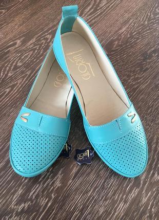 Балетки gloria shoes бирюзовые из натуральной кожи