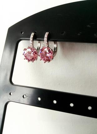 Серьги с цирконием розовый круглый корона классическая застежка под винтаж ретро