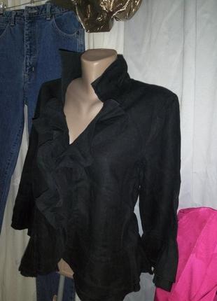 **promiss** льняная блуза-пиджак с жабо разм м пог-50см