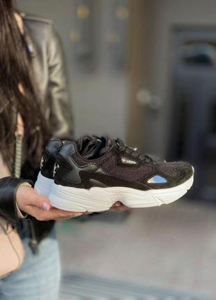 Шикарные женские кроссовки adidas falcone в черном цвете (37-41)