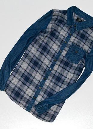 Классная рубашка  в клетку комбинированная с джинсовой тканью 10 размер f&f