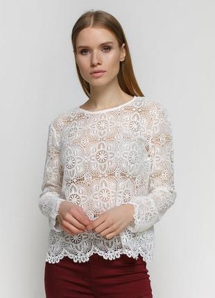 Блуза белая ажурная pimkie