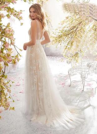 Длинное платье свадьба /роспись /фотосессия embroidered flowers