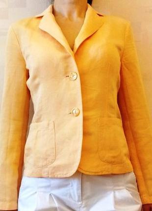 Летний льняной жакет, пиджак персиковый оттенок. max mara