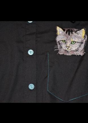 Рубашка черная кот кошка мордочка новая