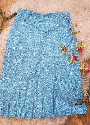 Натуральная хб юбка mark & spencer голубого цвета