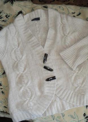 Кофта свитер теплый осень 70%шерсть ламы, 20%ангора