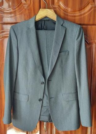 Мужской темно-серый костюм zara man 40р 31 брюки