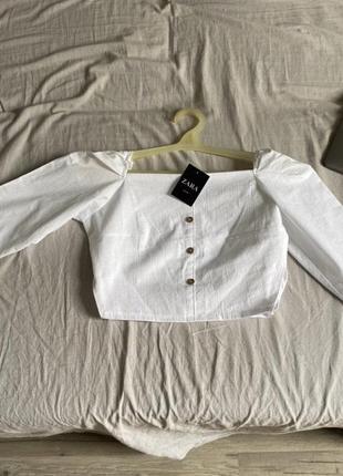 Zara рубашка укорочённая топ с объемными , лён