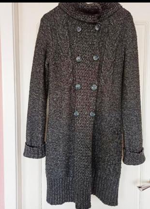 Кардиган, пальто, узор косы, вязанное