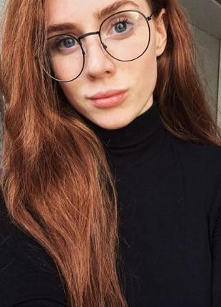 Стильные имиджевые очки унисекс в чёрной круглой оправе
