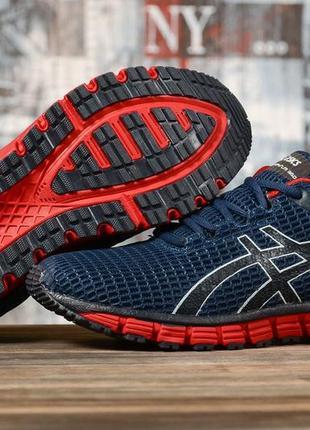 Мужские кроссовки asics 41-46 тёмно-синие с красным весна лето осень
