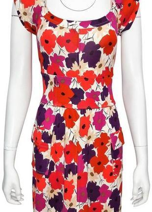Diane von furstenberg шелковое платье в маки, dvf шелк