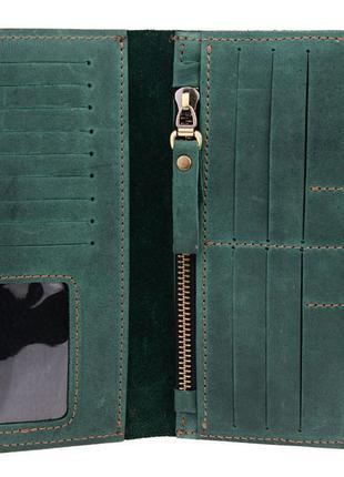 Кожаный кошелек зеленый ручной работы
