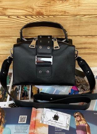 Женская кожаная сумка бочонок через плечо чёрная polina & eiterou жіноча шкіряна