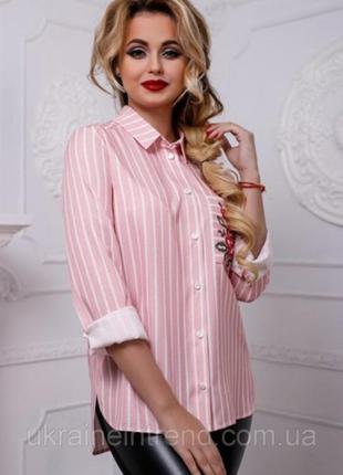 Рубашка в полоску розовая р 10-12 р