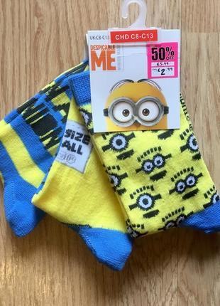 Яркие носки, носочки, набор носков character для мальчика с миньонами, р. 28-33, 20 см.