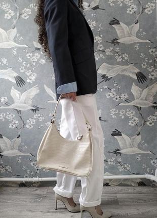 Хлопковые прямые свободного кроя белые брюки высокая талия