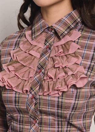 Блуза клетчатая со стилизованным жабо2 фото