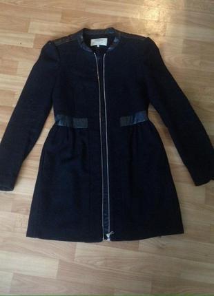 Пальто черное шерстяное zara