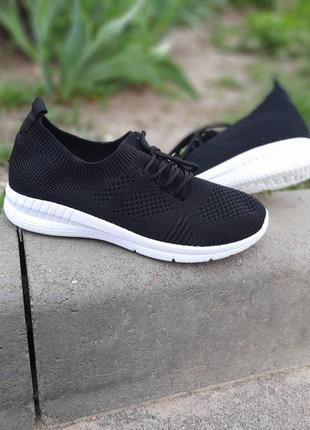 Летние кроссовки сетка черные