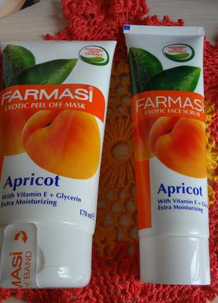 Набор маска - пленка и скраб для лица с экстрактом абрикоса от farmasi