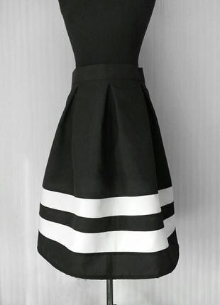 Черно-белая полосатая пышная миди полосатая юбка в полоску складку р. xs-xxl