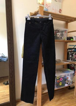 Черные вельветовые прямые винтажные штаны