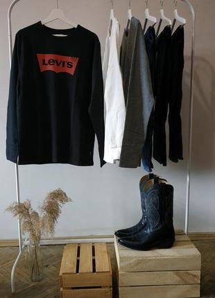 Levis caviar davey graphic batwing logo long sleeve мужской реглан с вафельной текстурой