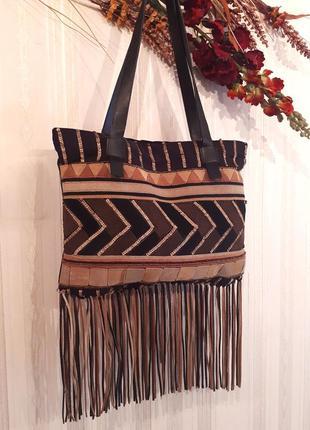 Замшевая  сумка в стиле этно, бохо от gai mattiolo bag