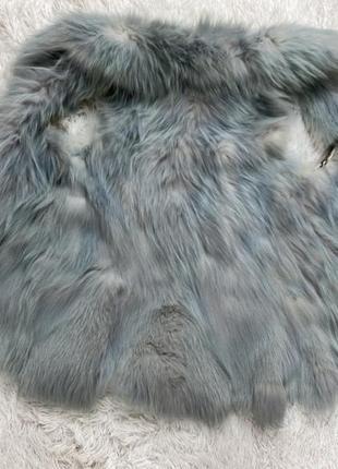 Шикарная жилетка песец голубая