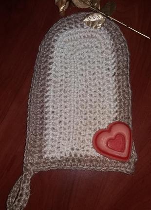 Натуральная мочалка (рукавица) из джута hand made  с эффектом пиллинга и скрабирования