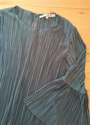 Стильная бирюзовая блуза плиссе kappahl размер l